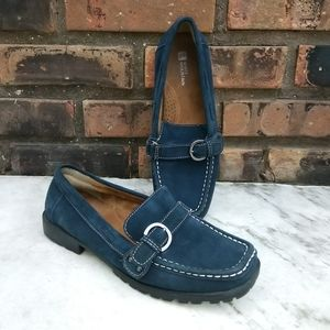 White Mountain Blue Suede Leather Upper Loafers